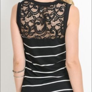 Tops - Striped Ruched Lace Top